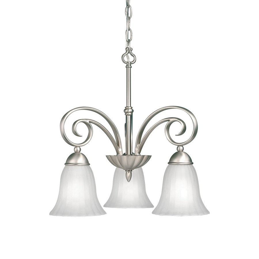 Kichler Lighting Willowmore 19-in 3-Light Brushed Nickel Country Cottage Etched Glass Shaded Chandelier