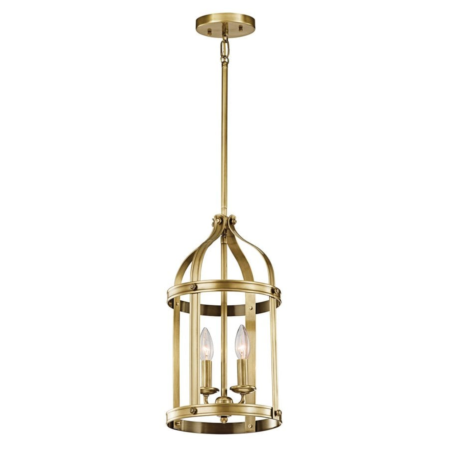 Kichler Lighting Steeplechase 10-in Natural Brass Country Cottage Hardwired Single Cage Pendant