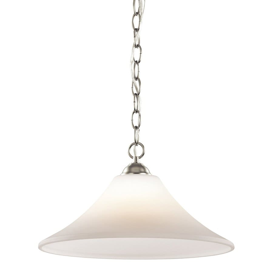 Kichler Lighting Keiran 15-in W Brushed Nickel Pendant Light with White Shade