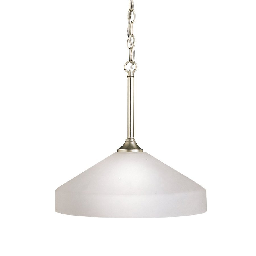 Kichler Lighting Ansonia 15-in Brushed Nickel Country Cottage Hardwired Single Etched Glass Dome Pendant