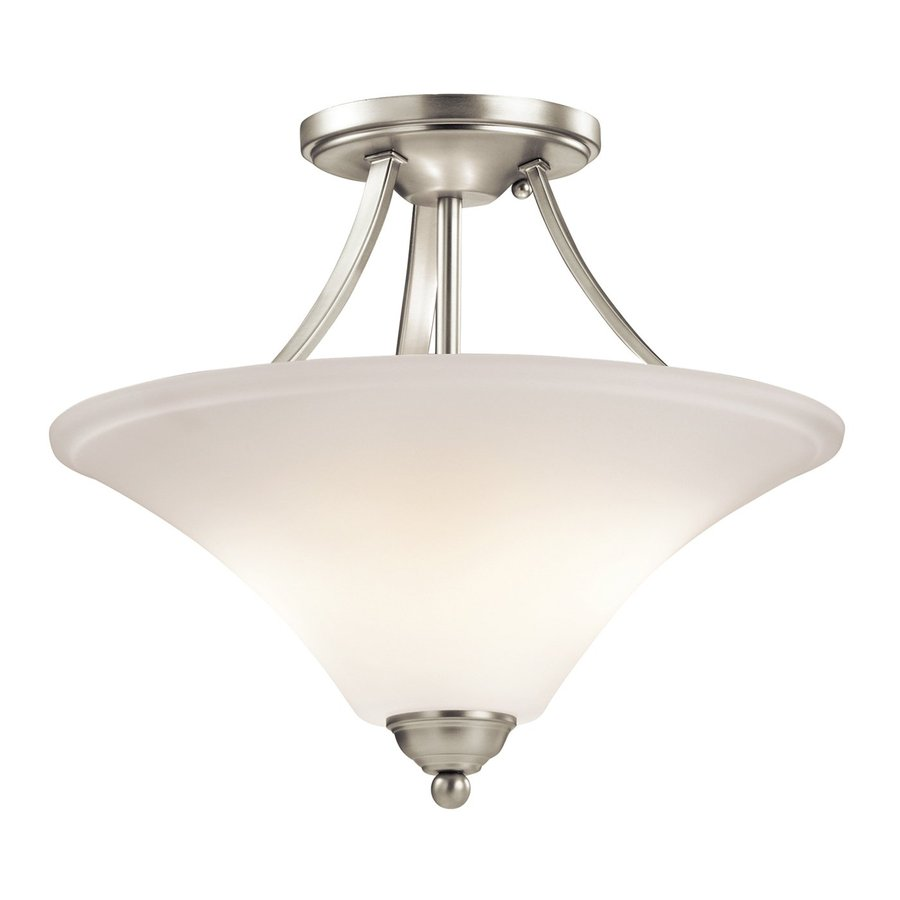 Kichler Lighting Keiran 15-in W Brushed Nickel Etched Glass Semi-Flush Mount Light