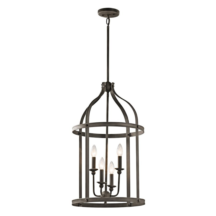 Kichler Lighting Steeplechase 17-in Olde Bronze Country Cottage Hardwired Single Cage Pendant