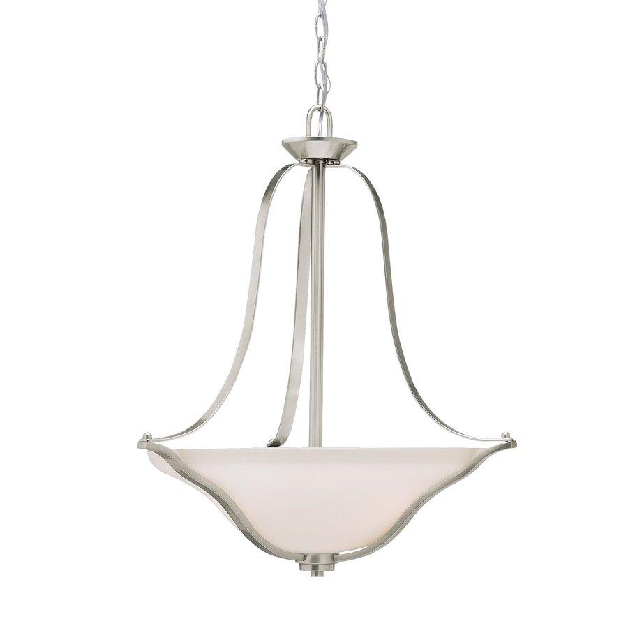 Kichler Lighting Langford 22-in Brushed Nickel Hardwired Single Etched Glass Bowl Pendant