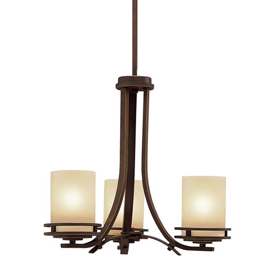 Kichler Lighting Hendrik 19-in 3-Light Olde Bronze Craftsman Etched Glass Shaded Chandelier