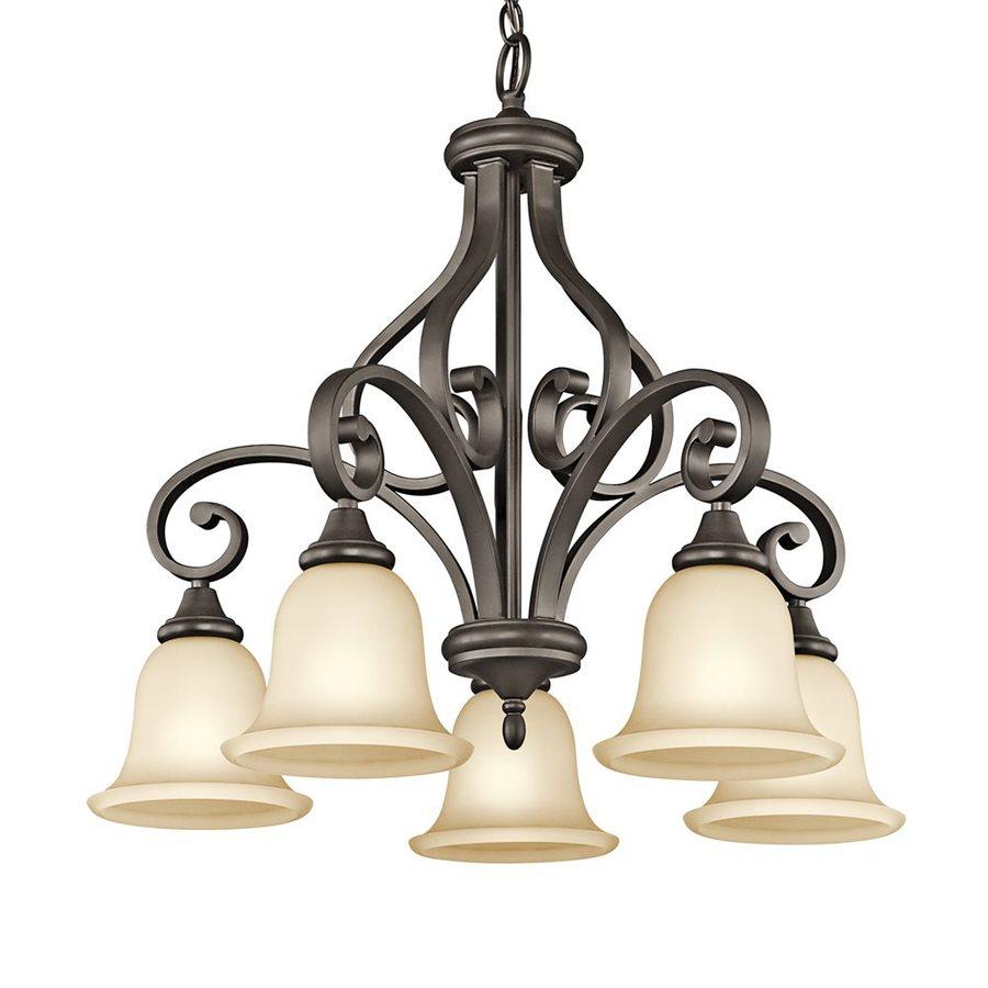 Kichler Lighting Monroe 27-in 5-Light Olde Bronze Vintage Etched Glass Shaded Chandelier
