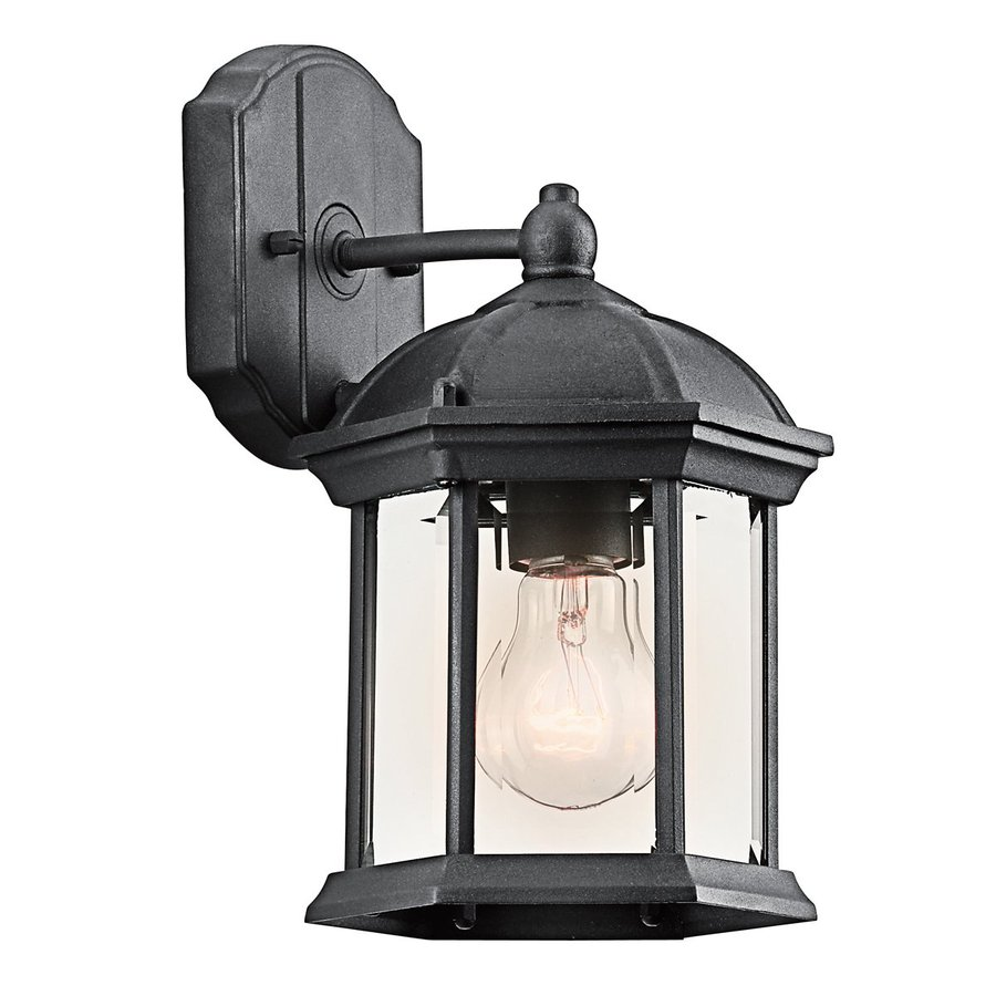 Lowes Outdoor Wall Lamps : Shop Kichler Lighting Barrie 10.25-in H Black Outdoor Wall Light at Lowes.com