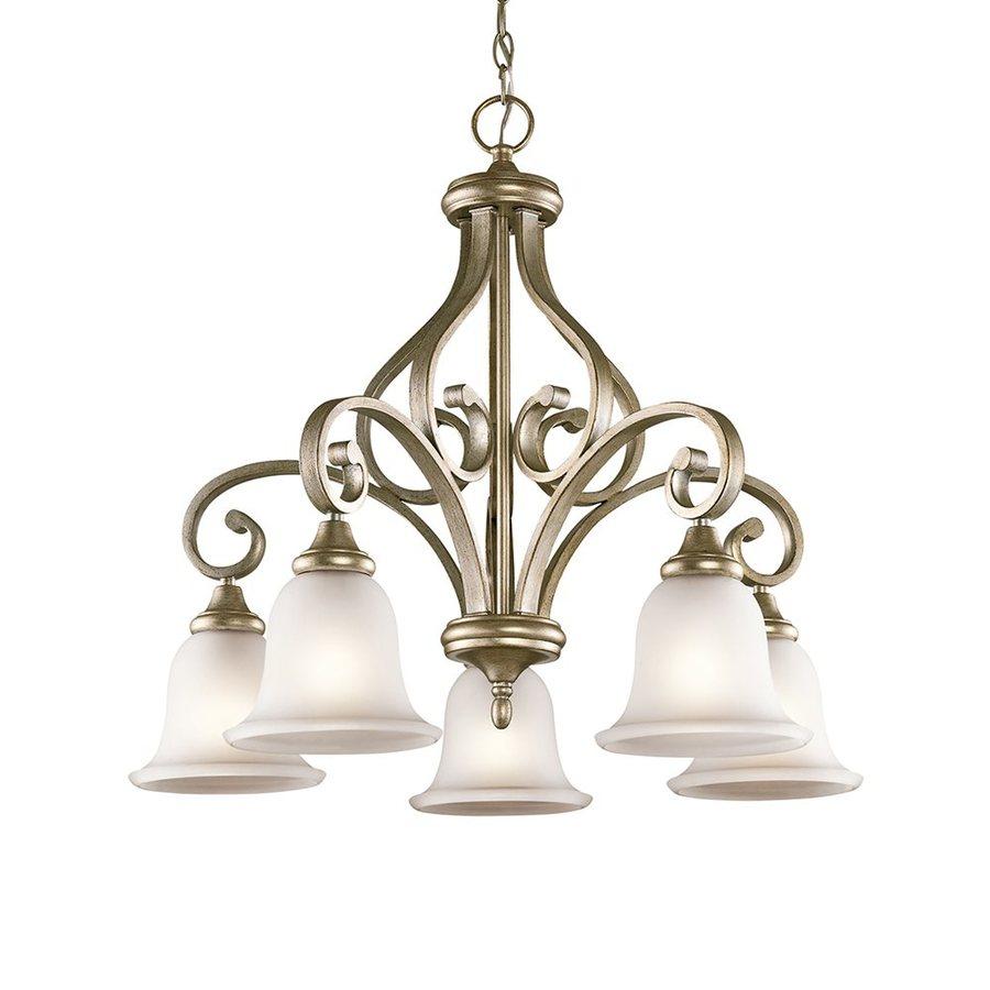 Kichler Lighting Monroe 27-in 5-Light Sterling Gold Vintage Etched Glass Shaded Chandelier