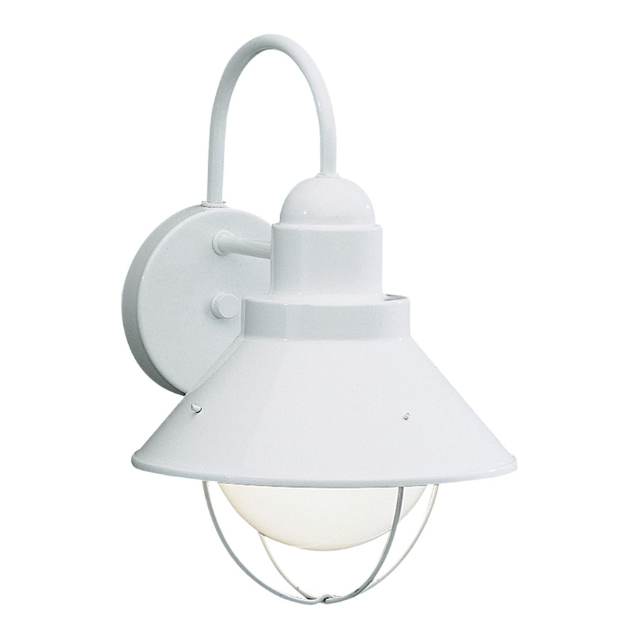 Exterior Wall Lights White : Shop Kichler Lighting Seaside 12-in H White Dark Sky Outdoor Wall Light at Lowes.com