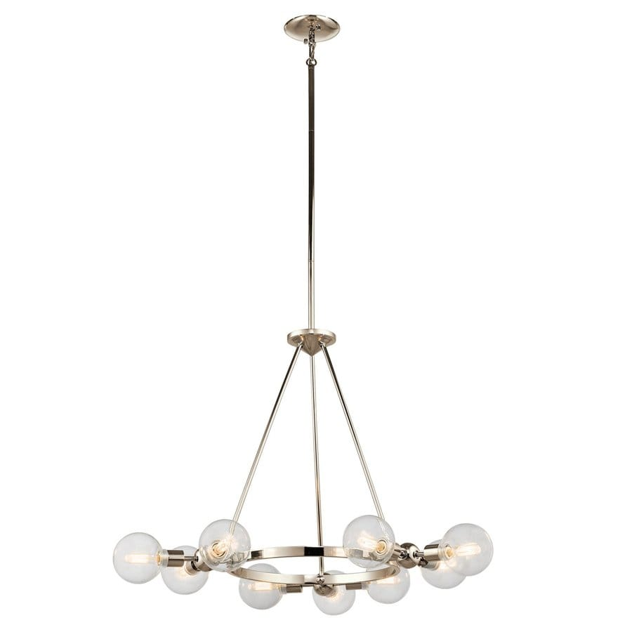 Kichler Lighting Garim 33.75-in 9-Light Polished Nickel Industrial Globe Chandelier