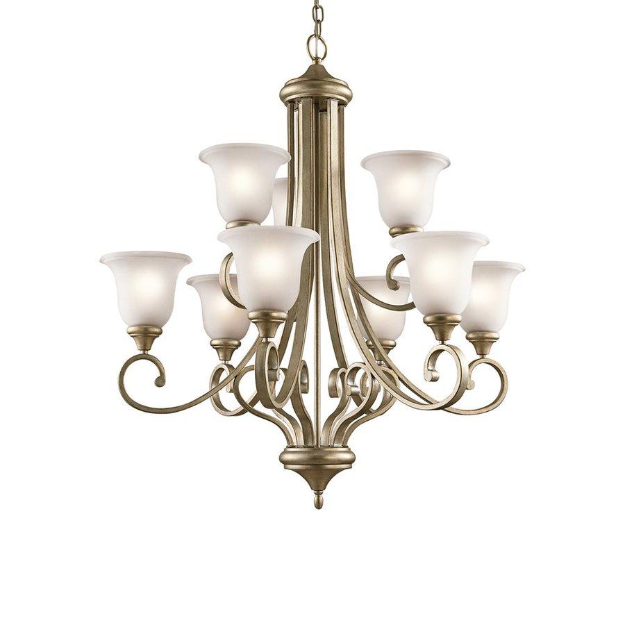 Kichler Lighting Monroe 33.5-in 9-Light Sterling Gold Vintage Etched Glass Tiered Chandelier