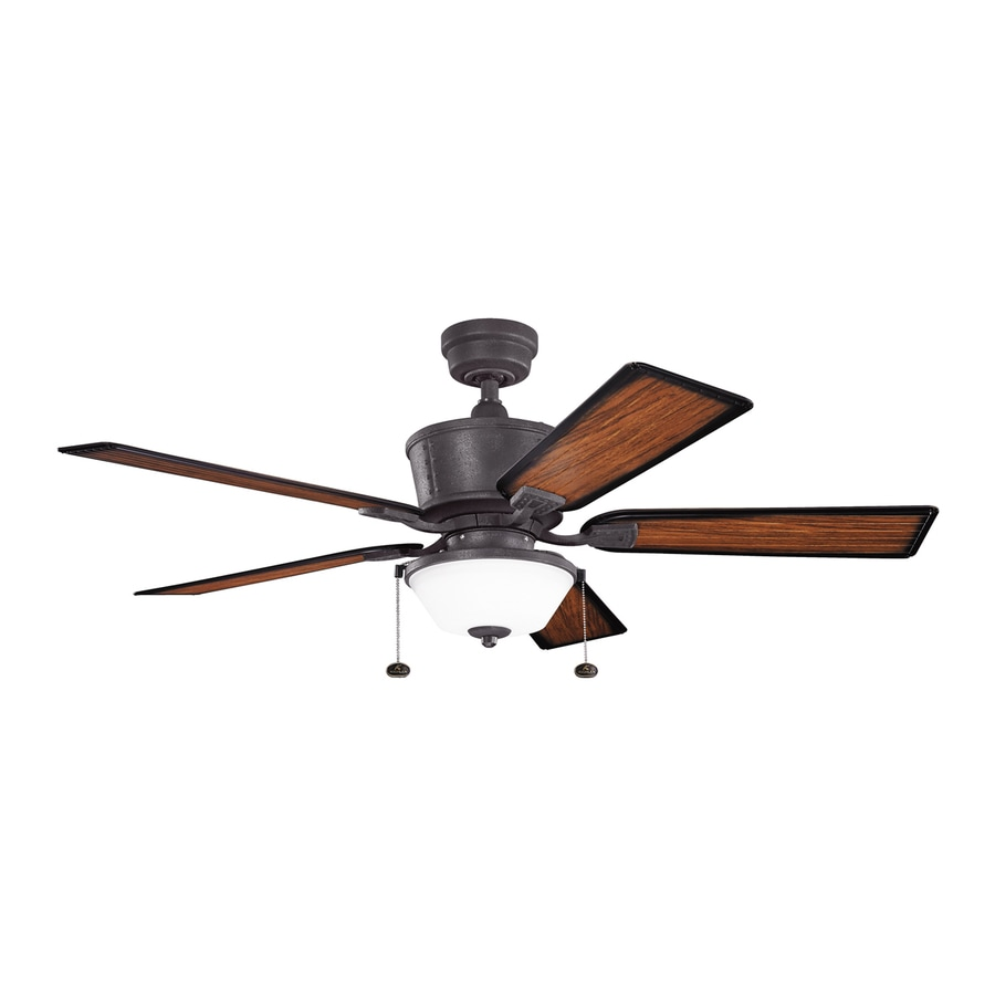 Kichler Lighting Cates 52-in Distressed Black Downrod Mount Indoor/Outdoor Ceiling Fan with Light Kit (5-Blade)