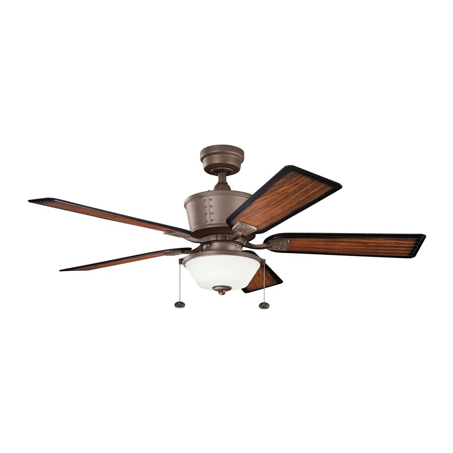 52 Ceiling Fan With Light Kit Indoor Outdoor Downrod: Shop Kichler Lighting Cates 52-in Tannery Bronze Downrod