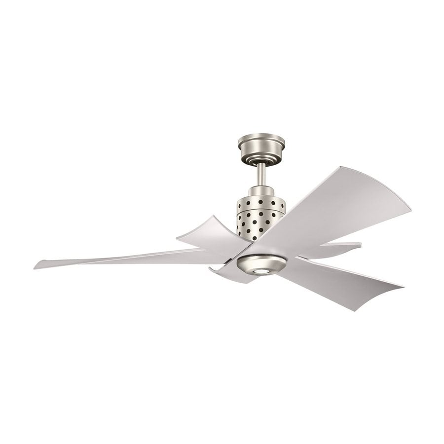 Kichler Lighting Frey 56-in Brushed Nickel Downrod Mount Indoor Ceiling Fan with Light Kit and Remote (3-Blade)