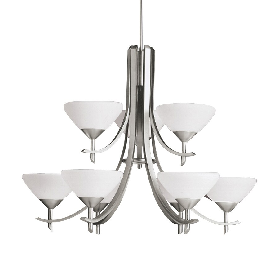 Kichler Lighting Olympia 32-in 9-Light Antique Pewter Etched Glass Tiered Chandelier