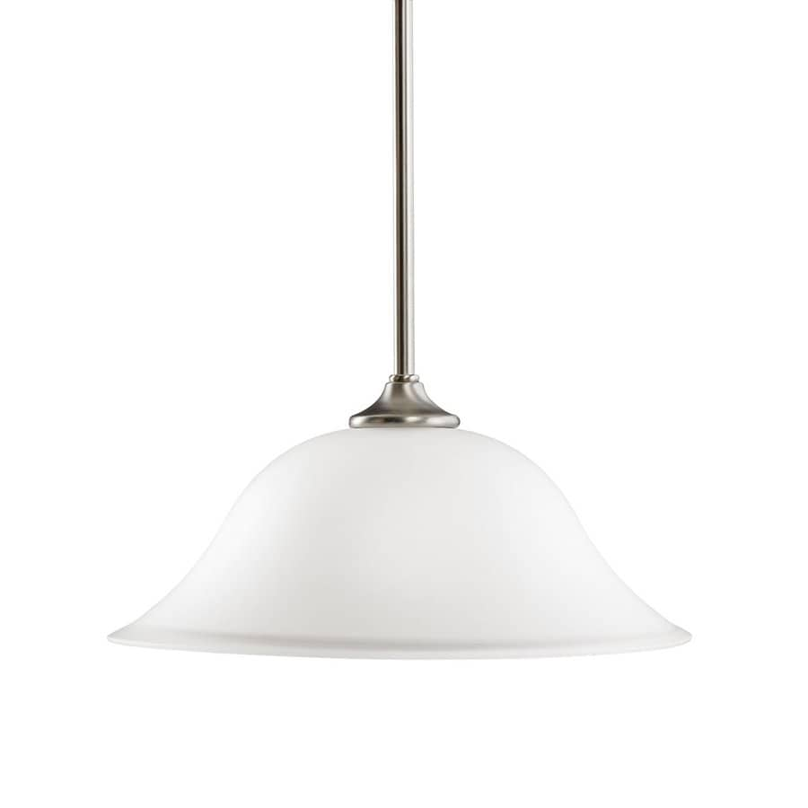Kichler Lighting Wedgeport 14-in Brushed Nickel Vintage Hardwired Single Etched Glass Dome Pendant