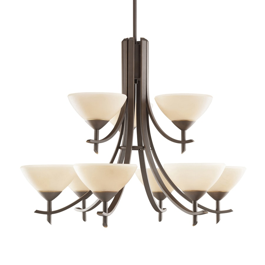 Kichler Lighting Olympia 32-in 9-Light Olde Bronze Tinted Glass Tiered Chandelier