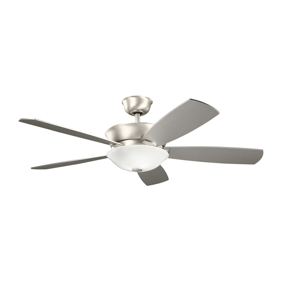 Kichler Lighting Skye 54-in Brushed Nickel Downrod Mount Indoor Ceiling Fan with Light Kit and Remote (5-Blade)