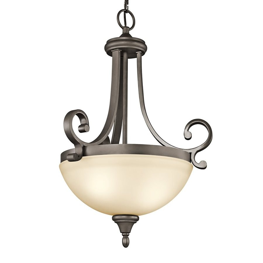 Kichler Lighting Monroe 17.5-in Olde Bronze Country Cottage Hardwired Single Etched Glass Bowl Pendant