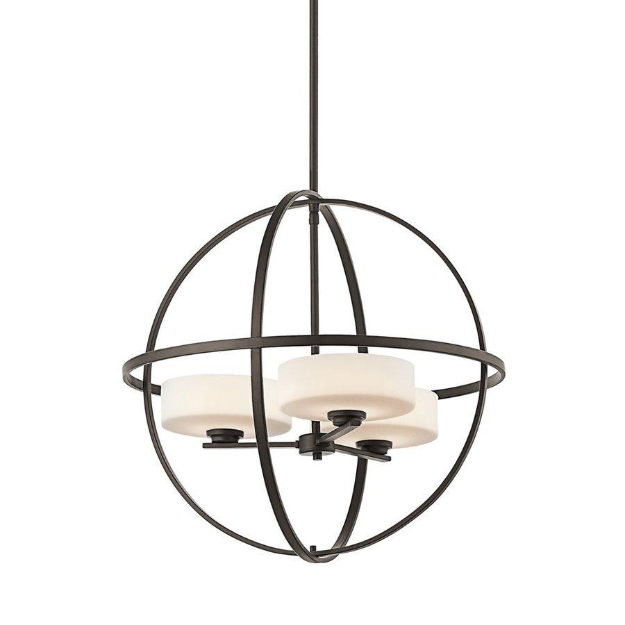 Kichler Lighting Olsay 22.5-in 3-Light Olde Bronze Etched Glass Globe Chandelier