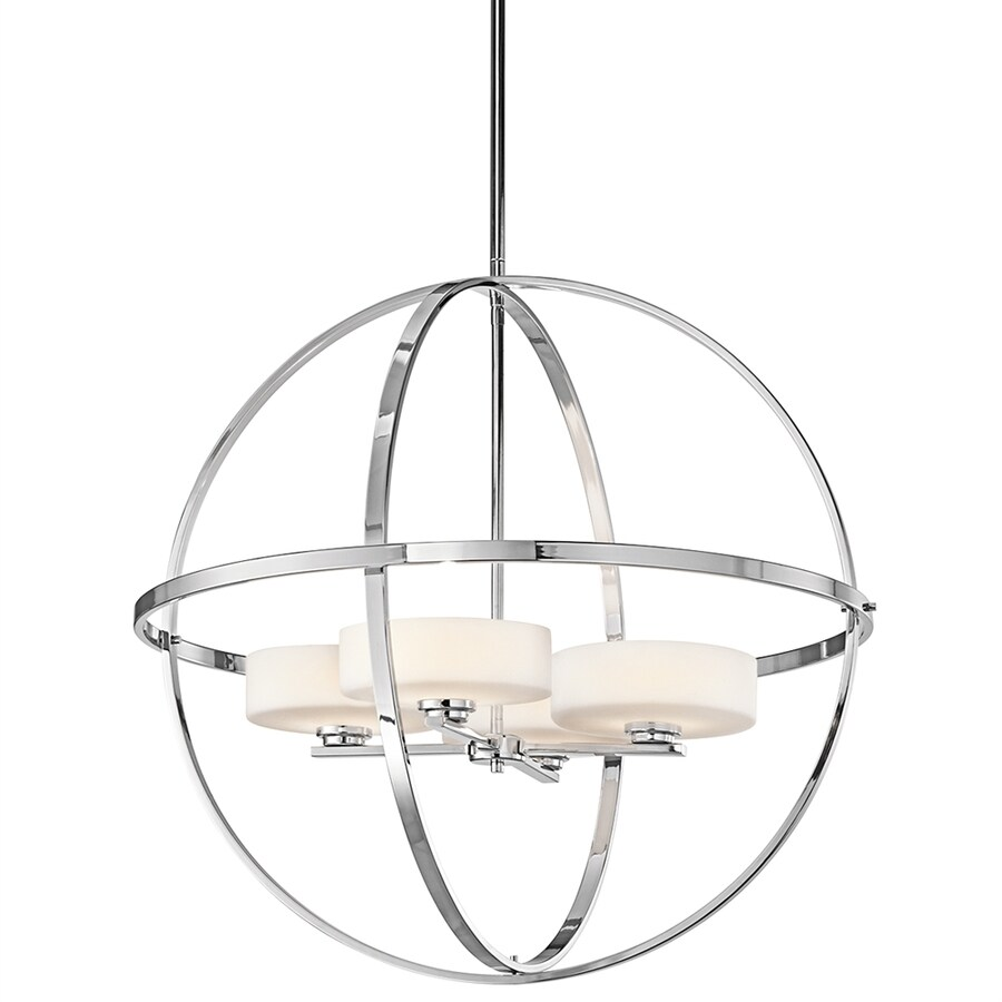 Kichler Lighting Olsay 28.75-in 4-Light Chrome Etched Glass Globe Chandelier