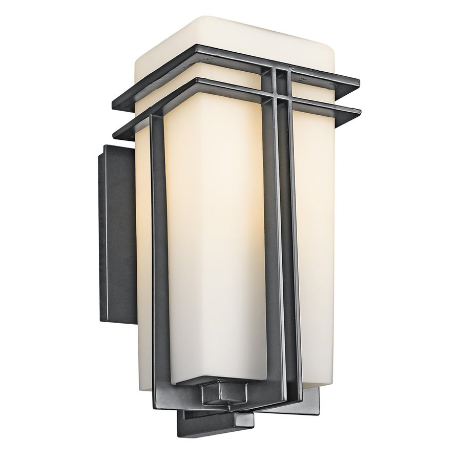 Wall Mounted Light Fixtures Lowes : Shop Kichler Lighting Tremillo 14.25-in H Black Outdoor Wall Light at Lowes.com