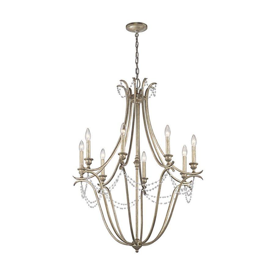 Kichler Lighting Abellona 30-in 8-Light Sterling Gold Vintage Candle Chandelier