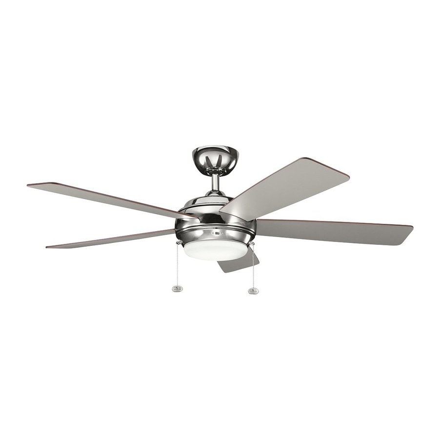 Kichler Lighting Starkk 52-in Polished Nickel Downrod Mount Indoor Ceiling Fan with Light Kit (5-Blade)