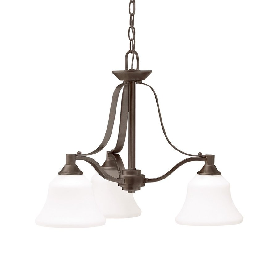Kichler Lighting Langford 22-in 3-Light Olde Bronze Country Cottage Etched Glass Shaded Chandelier