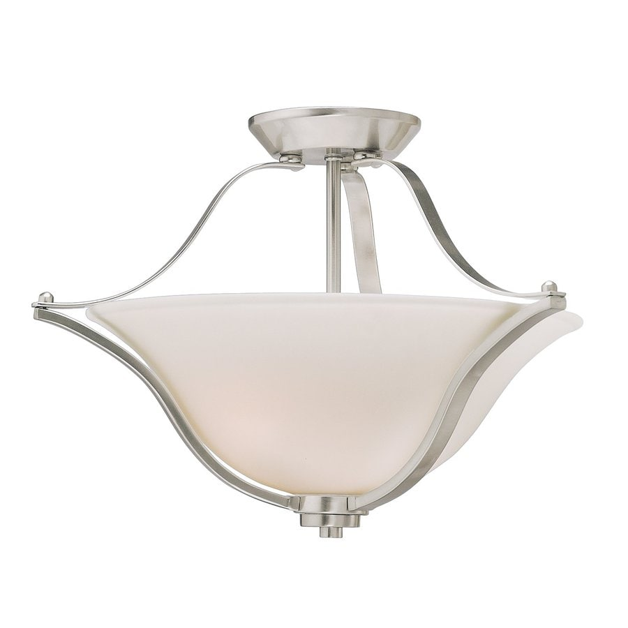 Kichler Lighting Langford 18.75-in W Brushed Nickel Etched Glass Semi-Flush Mount Light