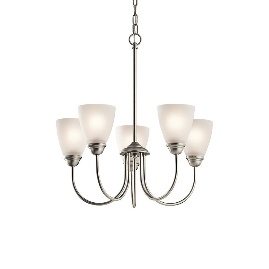 Kichler Lighting Jolie 22-in 5-Light Brushed Nickel Country Cottage Etched Glass Shaded Chandelier
