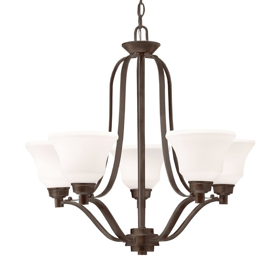 Kichler Lighting Langford 27.25-in 5-Light Olde Bronze Country Cottage Etched Glass Shaded Chandelier