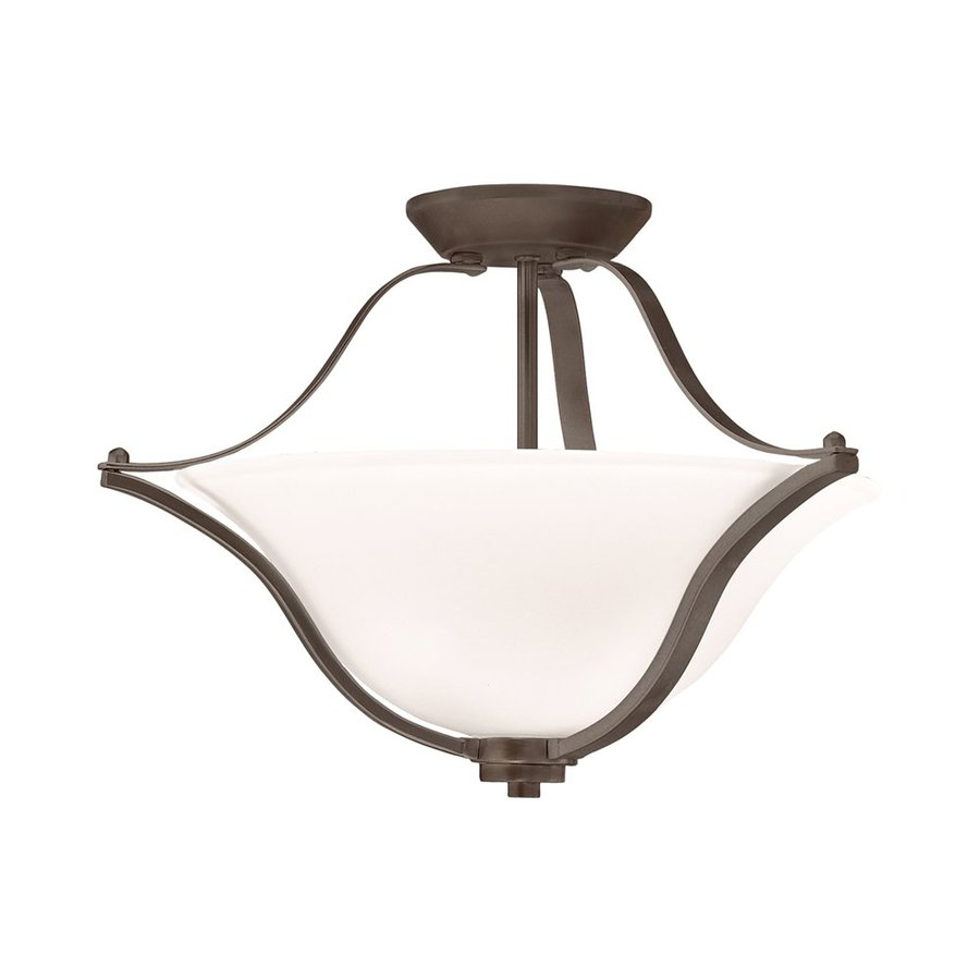 Kichler Lighting Langford 18.75-in W Olde Bronze Etched Glass Semi-Flush Mount Light