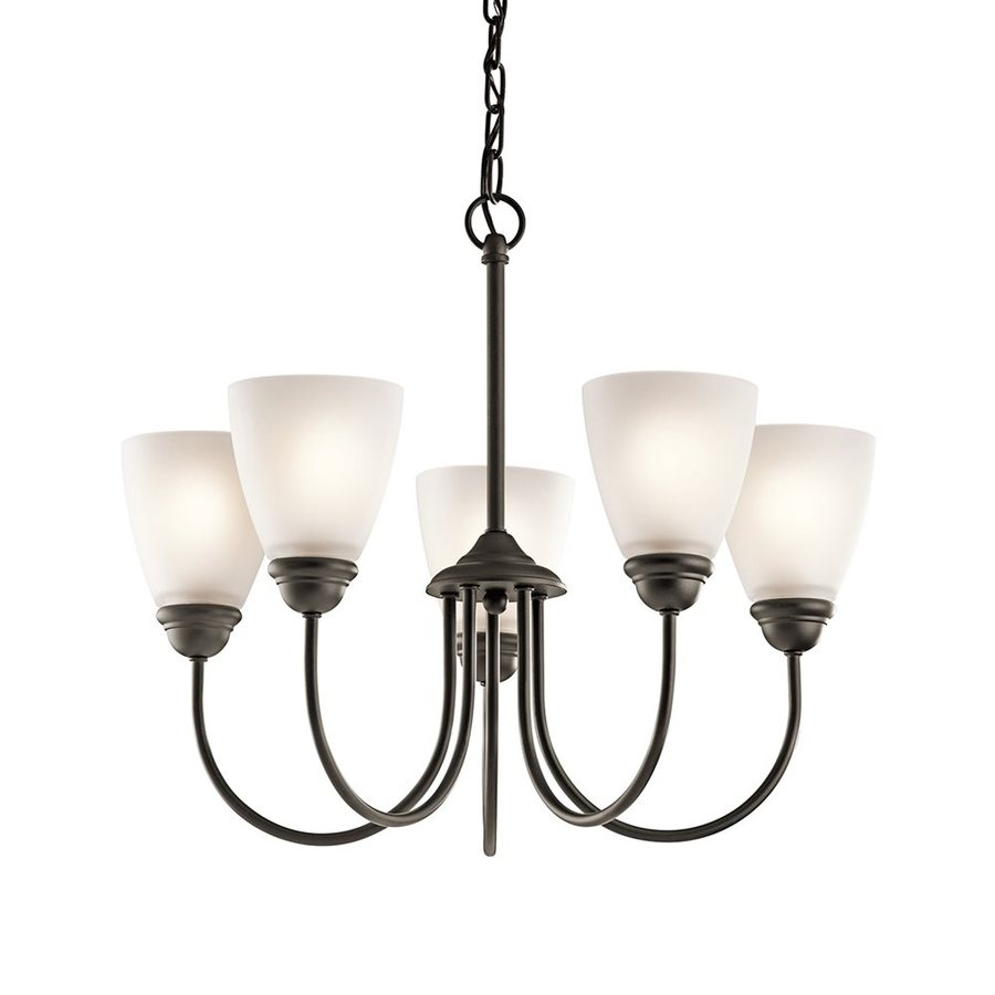 Kichler Lighting Jolie 22-in 5-Light Olde Bronze Country Cottage Etched Glass Shaded Chandelier
