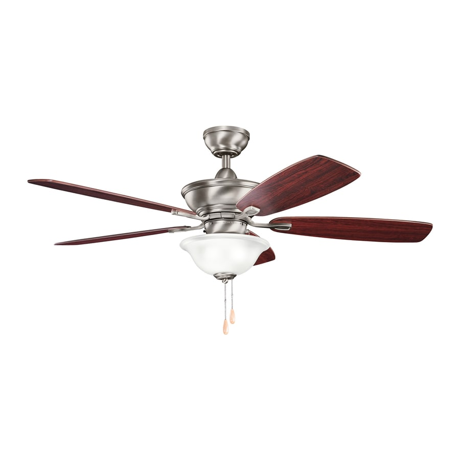 Kichler Lighting Frezno 52-in Antique Pewter Downrod Mount Indoor Ceiling Fan with Light Kit (5-Blade)