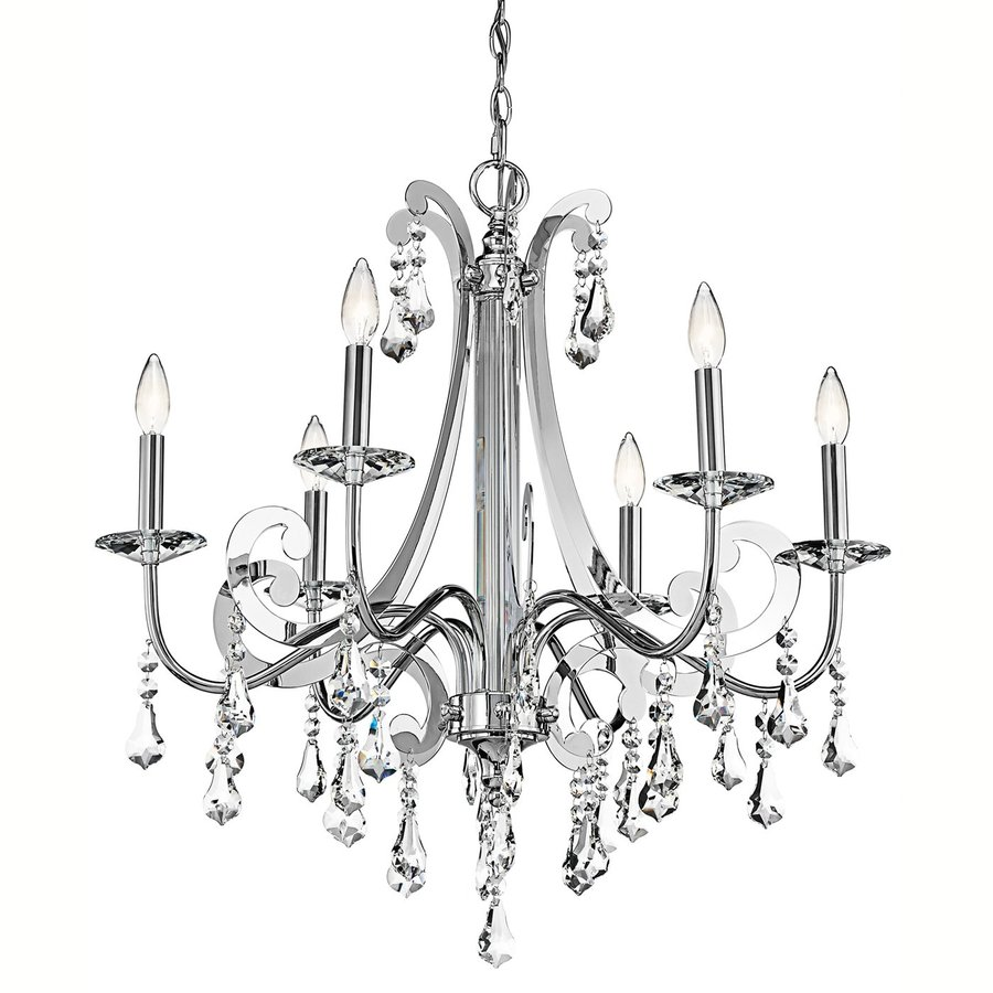 Kichler Lighting Leanora 28-in 6-Light Chrome Crystal Candle Chandelier