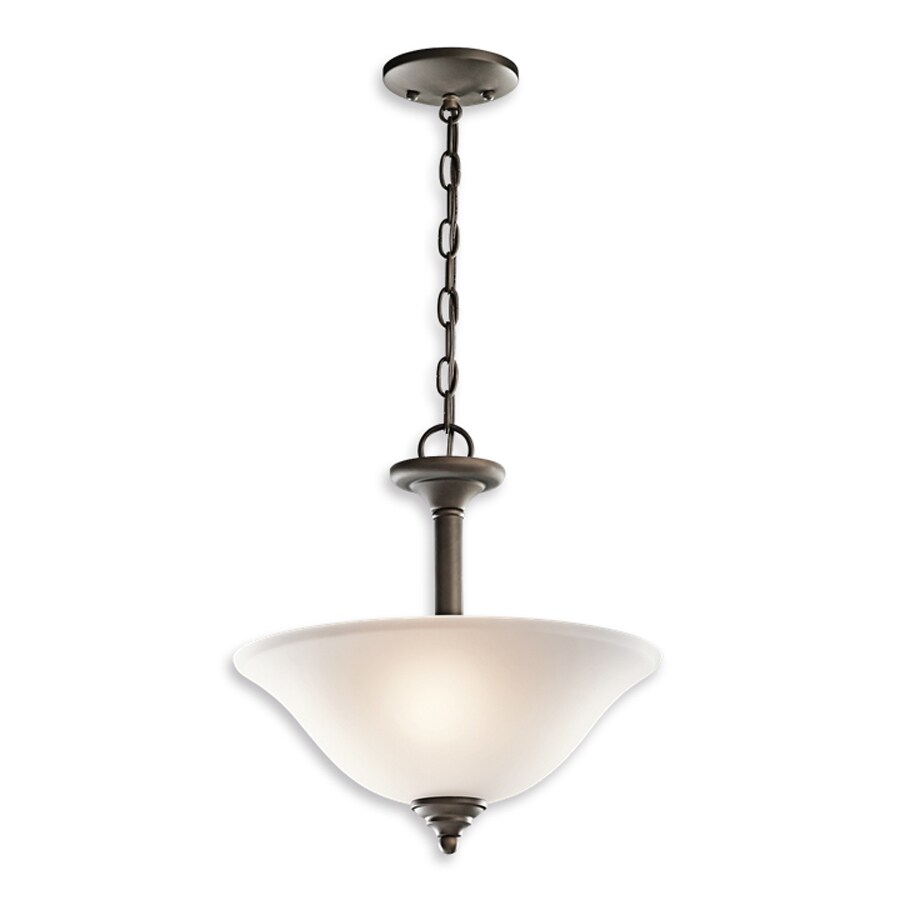 Kichler Lighting Wynberg 15-in Olde Bronze Country Cottage Hardwired Single Etched Glass Bowl Pendant