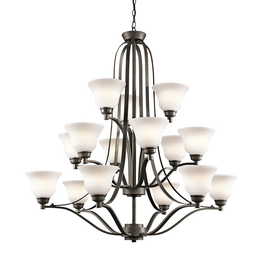 Kichler Lighting Langford 42-in 15-Light Olde Bronze Etched Glass Tiered Chandelier