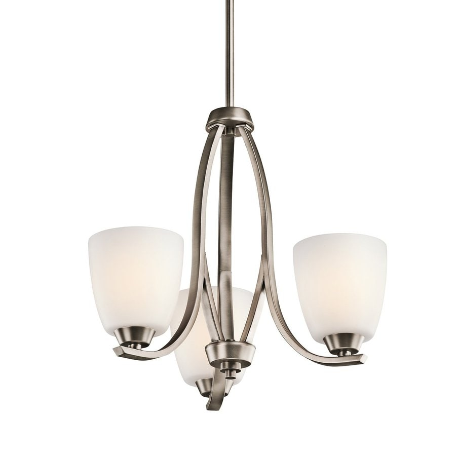 Kichler Lighting Granby 19-in 3-Light Brushed Pewter Etched Glass Shaded Chandelier