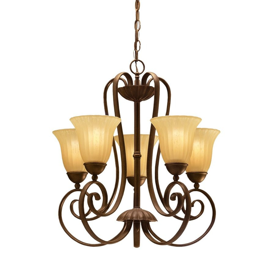 Kichler Lighting Willowmore 22-in 5-Light Tannery Bronze Mediterranean Etched Glass Shaded Chandelier