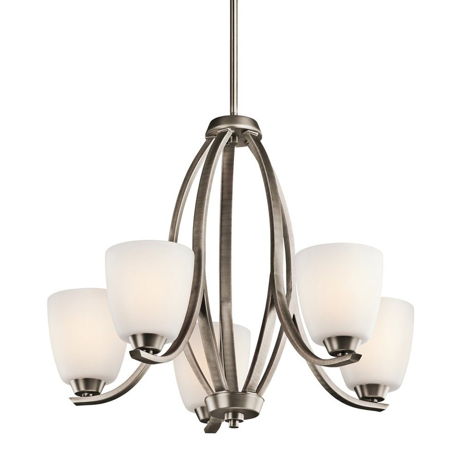Kichler Lighting Granby 24-in 5-Light Brushed Pewter Etched Glass Shaded Chandelier
