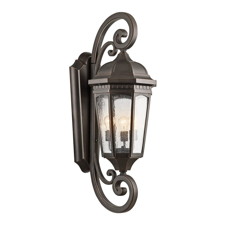 Kichler Lighting Courtyard 40.5-in H Rubbed Bronze Outdoor Wall Light