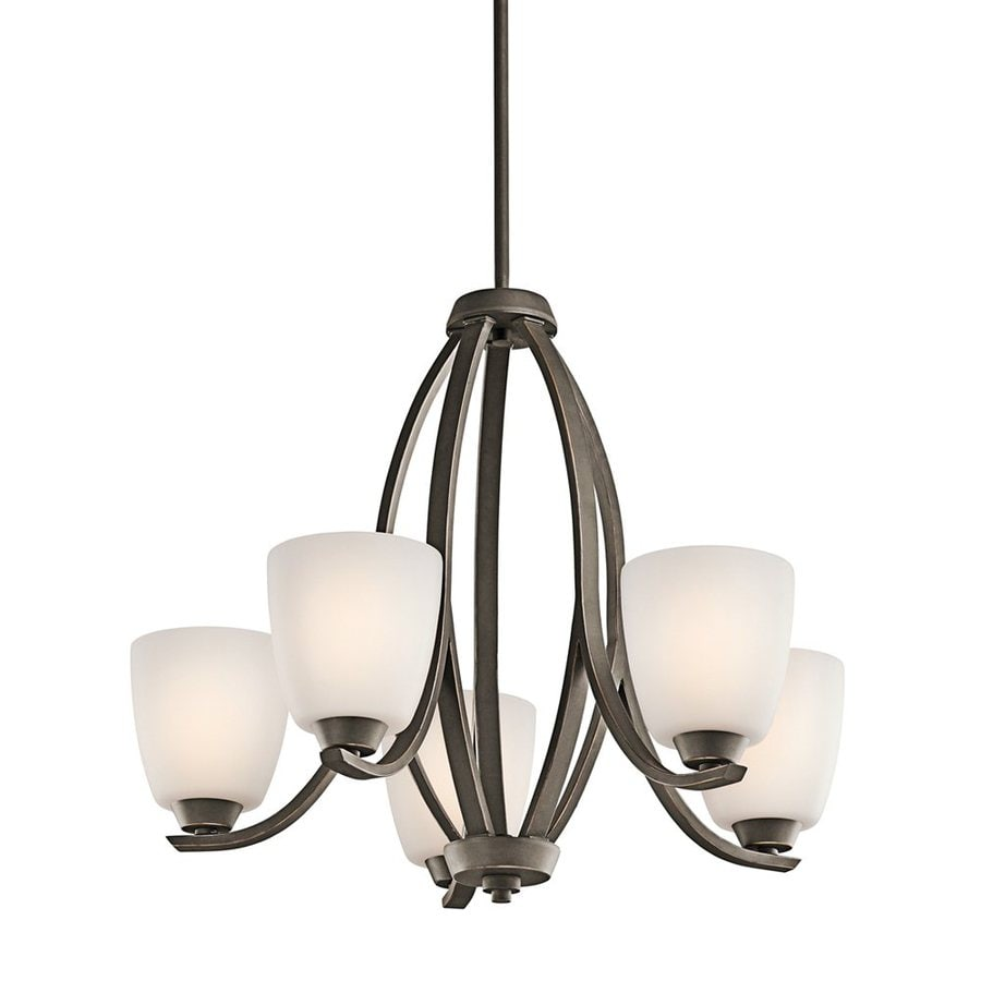 Kichler Lighting Granby 24-in 5-Light Olde Bronze Etched Glass Shaded Chandelier