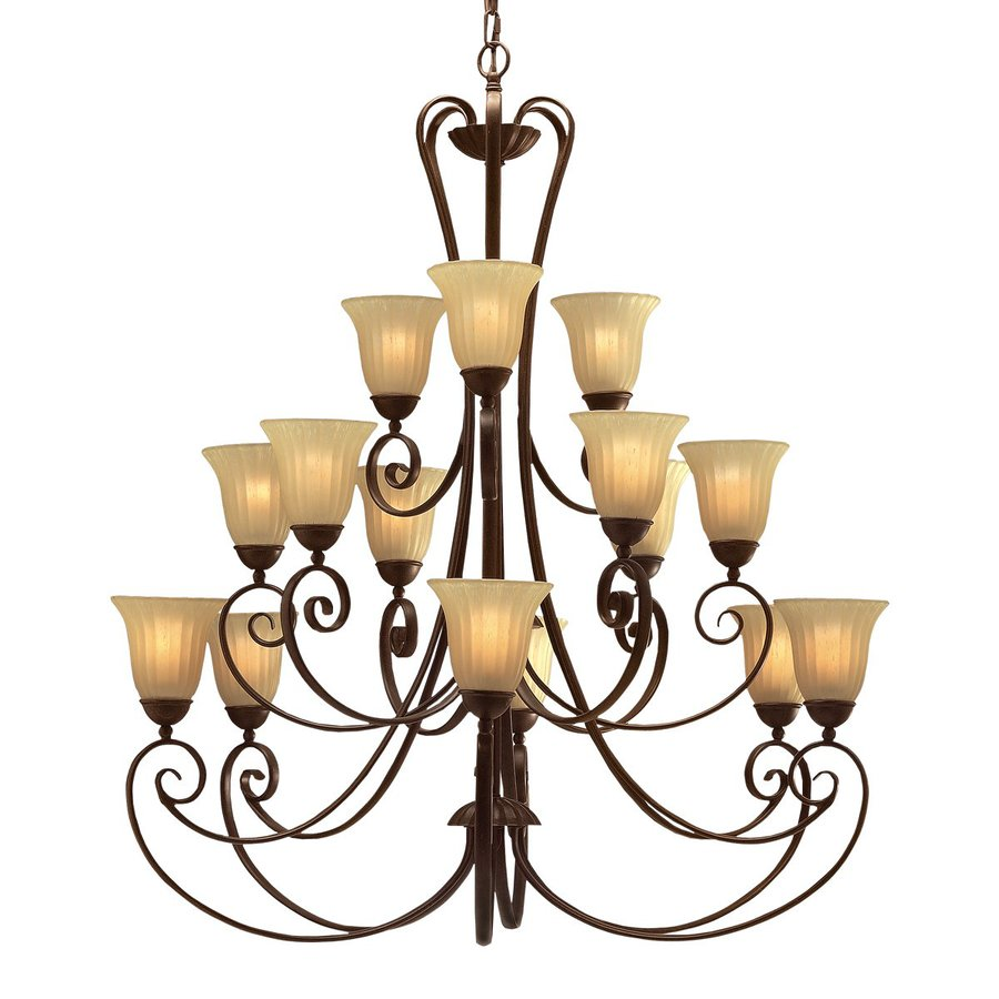 Kichler Lighting Willowmore 42-in 15-Light Tannery Bronze Mediterranean Etched Glass Tiered Chandelier