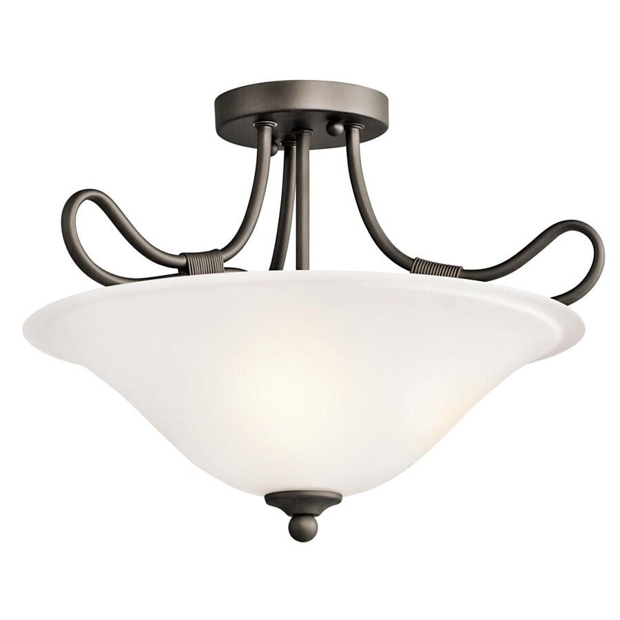 Kichler Lighting Stafford 16-in W Olde Bronze Etched Glass Semi-Flush Mount Light