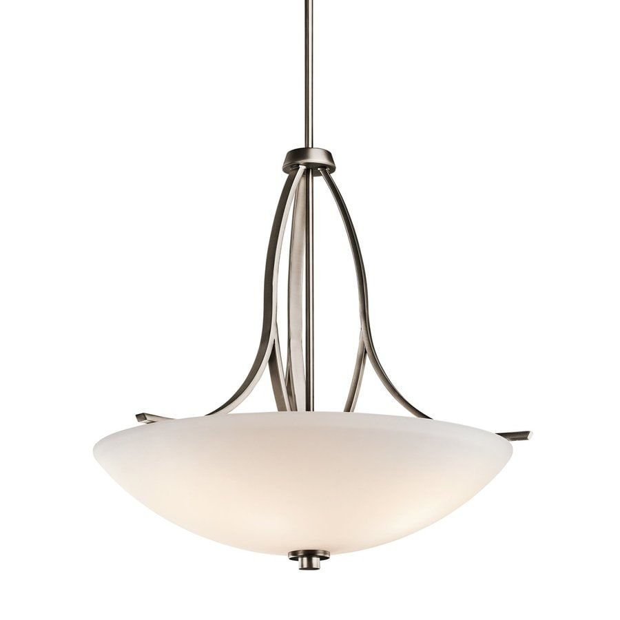 Kichler Lighting Granby 24.5-in Brushed Pewter Hardwired Single Etched Glass Bowl Pendant