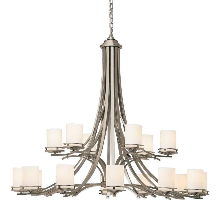 Kichler Lighting Hendrik 50.25-in 18-Light Brushed Nickel Etched Glass Tiered Chandelier