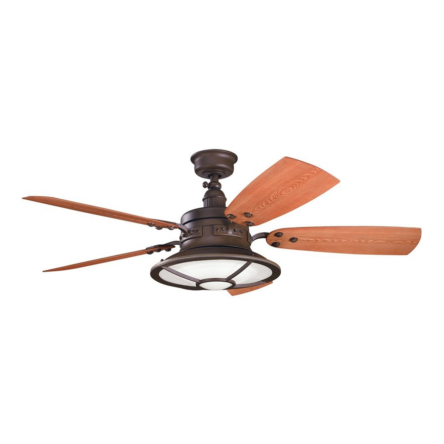 Kichler Lighting Harbour Walk Patio 52-in Tannery Bronze Downrod Mount Indoor/Outdoor Ceiling Fan with Light Kit and Remote (5-Blade)