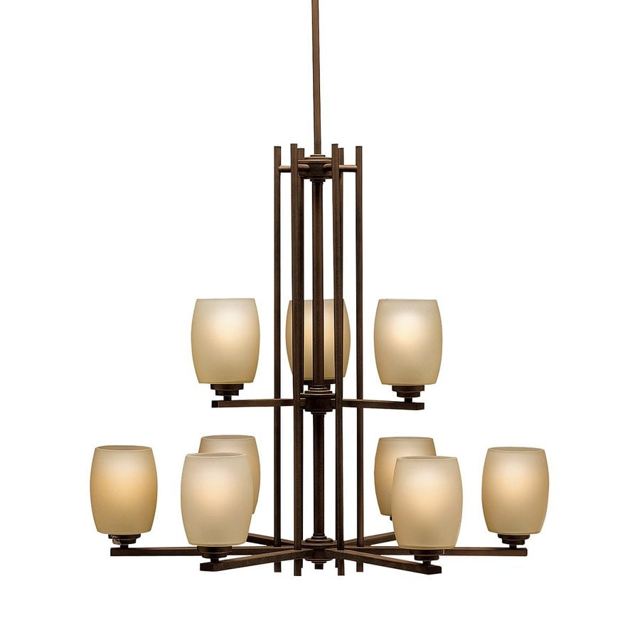 Kichler Lighting Eileen 30-in 9-Light Olde Bronze Craftsman Etched Glass Tiered Chandelier