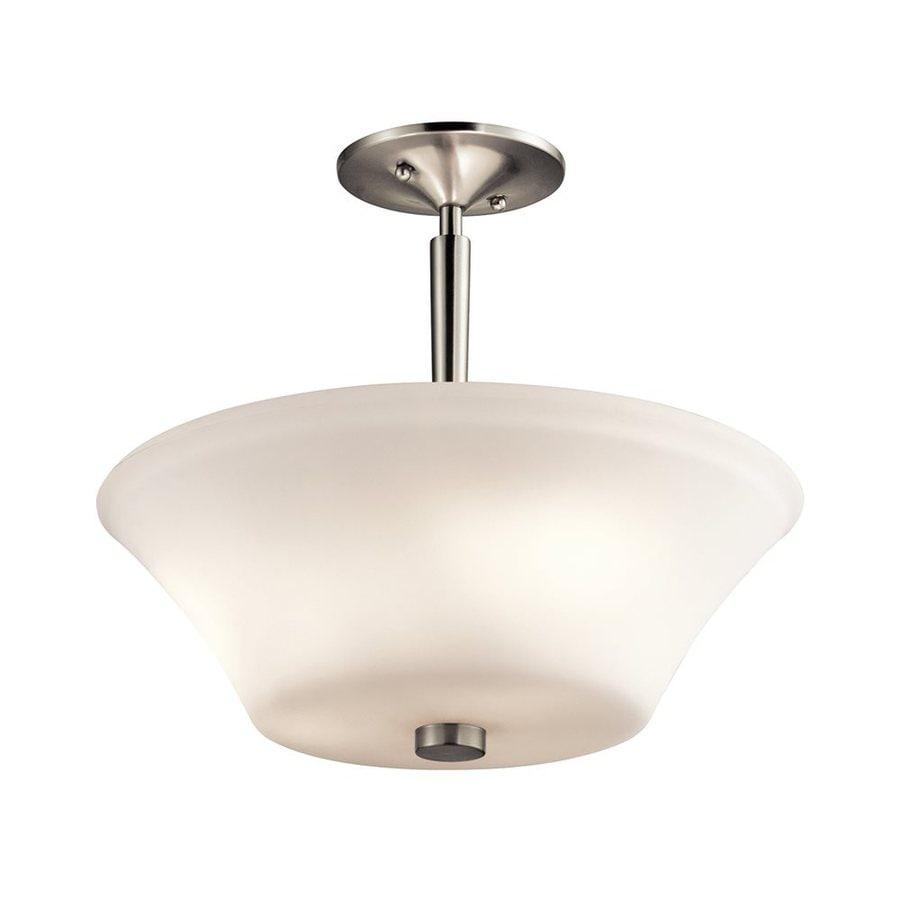 Kichler Lighting Aubrey 15-in W Brushed Nickel Etched Glass Semi-Flush Mount Light