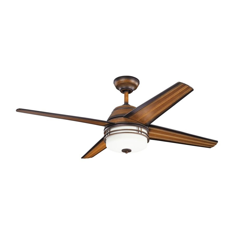 Kichler Lighting Porters Lake 54-in Mediterranean Walnut Downrod Mount Indoor Ceiling Fan with Light Kit and Remote (4-Blade)